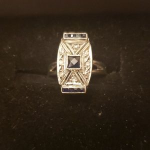 Jewelry - 14kt white gold diamond and sapphire ring vintage